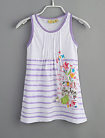 Girl's Sports Striped Dress,Cotton Summer Sleeveless