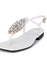 Sandals Spring Summer Fall Club Shoes PU Office & Career Party & Evening Dress Flat Heel Rhinestone Black Pink White