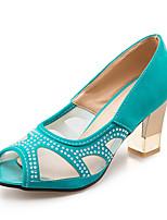 Черный Зеленый Синий Розовый-Для женщин-Для офиса Для праздника Для вечеринки / ужина-Тюль Флис-На толстом каблукеСандалии