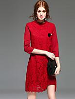 Для женщин На каждый день Простое Оболочка Платье Однотонный,Круглый вырез Выше колена Рукав ¾ Красный Черный Полиэстер Весна ЛетоСо