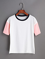 Women's Going out Cute Spring Summer T-shirt,Patchwork Round Neck Short Sleeve Cotton