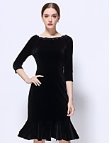 Women's Going out Work Sophisticated Bodycon Dress,Solid Round Neck Midi ½ Length Sleeve Black Polyester Winter Mid Rise Inelastic Medium