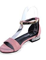 Sandals Summer Comfort PU Office & Career Casual Low Heel Rhinestone Black Pink Gray