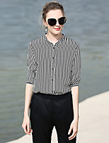 Women's Casual/Daily Work Party/Cocktail Simple Street chic Summer Shirt,Striped Shirt Collar Long Sleeve White Black Silk Medium