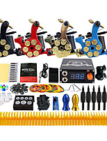 Complete Tattoo Kit 4 Pro Machine Power Supply Needle Grips Tips TK458