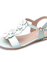 Women's Sandals Spring Summer Fall Cowhide Office & Career Dress Casual Flat Heel Flower Blushing Pink Almond Light Green