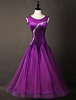 Shall We Ballroom Dance Dresses Women Performance Chinlon Organza Crystals/Rhinestones 1 Piece Sleeveless Dress