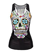 Women's Casual/Daily Street chic Summer T-shirt,Print Asymmetrical Sleeveless Black Polyester Medium