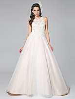 LAN TING BRIDE A-line Wedding Dress Wedding Dress in Color Court Train Jewel Satin Tulle with Appliques Beading
