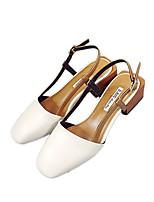 Women's Sandals Spring Summer Fall Comfort PU Casual Chunky Heel Block Heel White Champagne