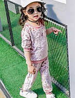 Girls' Casual/Daily Sports Solid Striped Sets,Cotton Rayon Spring Fall Long Sleeve Clothing Set