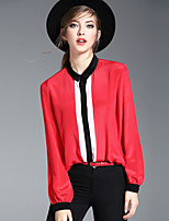 OYCP Women's Casual/Daily Work Simple Spring Summer ShirtSolid Shirt Collar Long Sleeve Red White Black Silk