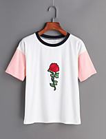 Women's Going out Simple Spring Summer T-shirt,Print Round Neck Short Sleeve Cotton
