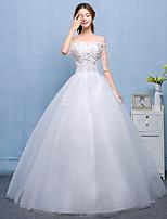 שמלת חתונה שמלת נשף - שיק& מודרני פשוט נשגב אורך באטו תחרה תחרה סאטן טול עם תחרה