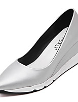 Women's Heels Spring Summer Fall Winter PU Office & Career Dress Casual Wedge Heel Black Silver