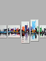 Hand-Painted Abstract Vertical Modern Five Panels Canvas Oil Painting For Home Decoration