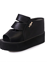 Sandals Spring Summer Fall Comfort PU Dress Casual Flat Heel Black White