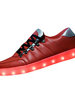 Men's Sneakers Spring Fall Light Up Shoes Cowhide Outdoor Flat Heel Lace-up LED Red Blue Walking