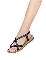 Sandalen-Lässig-PU-Flacher Absatz-Komfort-Schwarz Weiß