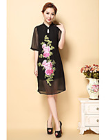 AINIER Women's Party/Cocktail Holiday Sexy Street chic Chiffon DressFloral V Neck Knee-length  Length Sleeve Polyester Spring Summer Mid Rise