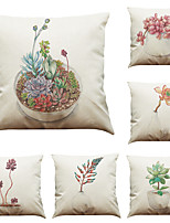 Set of 6 Succulents  pattern   Linen Pillowcase Sofa Home Decor Cushion Cover (18*18inch)