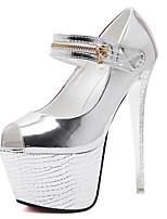 Tacón Stiletto-Zapatos del club-Tacones-Vestido-Tejido-Plata