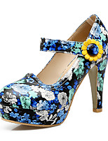 Heels Spring Summer Fall Winter Club Shoes PU Office & Career Party & Evening Dress Chunky Heel Flower Blue Purple