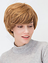 Thick Short Natural Straight Blonde Ombre Blends Capless Human Hair Wig For Girls And Women 2017