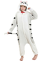 Kigurumi Pajamas Cat Leotard/Onesie Festival/Holiday Animal Sleepwear Halloween Gray Flannel Cosplay Costumes For Unisex Female Male