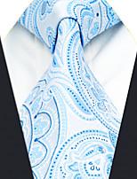 A38  Handmade Dress New Men's Neckties Blue Paisley 100% Silk Business Jacquard Woven