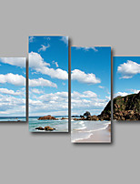 Stretched Canvas Print Four Panels Canvas Wall Decor Home Decoration Abstract Modern Blue Waves Seascape