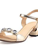 Sandalen-Büro Kleid Party & Festivität-Leder Mikrofaser-Blockabsatz-Club-Schuhe-Schwarz Gold