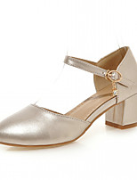 Heels Spring Fall Comfort Leatherette Office & Career Dress Casual Chunky Heel Buckle Gold Sliver