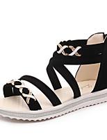 Черный ХакиДля праздника Повседневный-Ткань-На плоской подошве-Удобная обувь-Сандалии