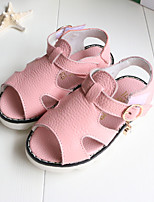 Baby Flats Summer First Walkers PU Outdoor Casual Low Heel Magic Tape White Pink Walking