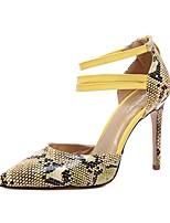 Mujer-Tacón Stiletto-D'Orsay y Dos Piezas Zapatos del club-Tacones-Vestido Informal Fiesta y Noche-Cuero-Amarillo Rojo