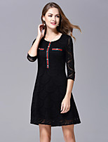 JOJO HANS Women's Going out Cute A Line DressEmbroidered Round Neck Knee-length  Length Sleeve Black Green Polyester Spring Summer Mid Rise