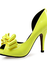 Heels Club Shoes Leather Patent Leather Wedding Party & Evening Dress Stiletto Heel Bowknot Black Blue Yellow Red