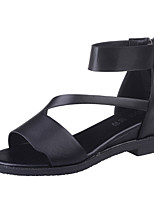Sandals Spring Summer Fall Mary Jane Gladiator Comfort Light Soles Leatherette Outdoor Dress Casual Flat Heel Zipper Black White Gray