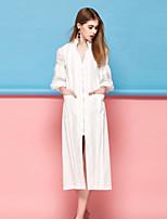 Для женщин На каждый день Простое Прямое Платье Однотонный,V-образный вырез Средней длины Рукав ¾ Розовый Белый Полиэстер Весна ЛетоСо