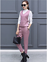 2016 new winter woolen knit two-piece women's fashion tide was thin temperament Slim female feet pants suit