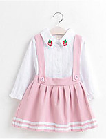 Girl's Solid Dress,Cotton Summer Spring Fall Long Sleeve