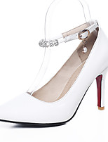 Women's Heels Spring Summer Fall Winter PU Office & Career Dress Party & Evening Stiletto Heel Rhinestone White Red Blushing Pink