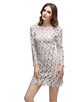 Women's Casual/Daily Beach Holiday Sexy Sheath Tunic Dress,Solid Round Neck Mini Long Sleeve Polyester Summer Mid Rise Inelastic Thin