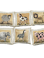 Set of 6 Nostalgic decorative painting pattern Linen Pillowcase Sofa Home Decor Cushion Cover (18*18inch)