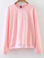 Women's Casual/Daily Cute Sweatshirt Letter Round Neck Micro-elastic Cotton Long Sleeve Spring Fall
