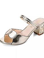 Women's Slippers & Flip-Flops Summer Slingback PU Outdoor Casual Chunky Heel Block Heel Gold Silver