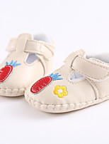 Baby Flats Spring Fall First Walkers PU Outdoor Casual Low Heel Magic Tape White Beige Pink Walking