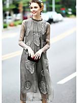 Femme Broderie Balançoire Robe Sortie Mignon,Couleur Pleine Jacquard Mao Midi Manches Longues Soie Printemps Eté Taille Normale Micro-élastique