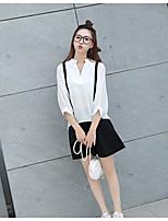 Sign # 2017 new fake strap chiffon lantern sleeve back button shirt female temperament + umbrella skirt skirts